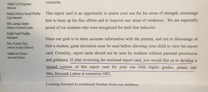 letter sent to yeshiva parents offers fake report card option for kids