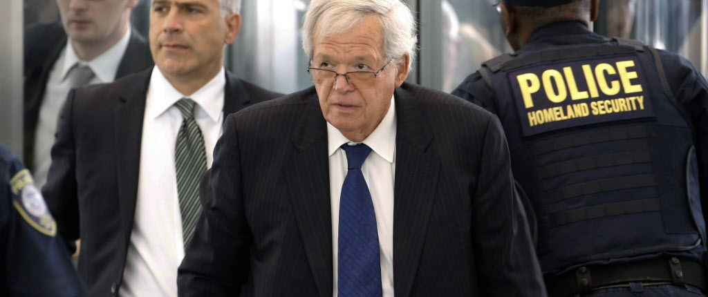 Former House Speaker Dennis Hastert arrives at the federal courthouse Tuesday, June 9, 2015, in Chicago for his arraignment on federal charges that he broke federal banking laws and lied about the money when questioned by the FBI. The indictment two weeks ago alleged Hastert agreed to pay $3.5 million to someone from his days as a high school teacher not to reveal a secret about past misconduct. (AP Photo/Charles Rex Arbogast) ORG XMIT: ILCA101